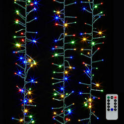 Multicolor Led Cluster Light Garland W/ Remote 19.6 Feet Long, 8 Functions, Raz