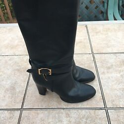 Black Leather Above Calf Heeled Boots Buckle 38