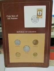 Lebanon Set In Franklin Mint Coins Of All Nations Card 5 Pc. 1975-1980