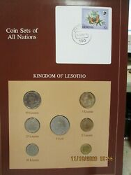 Lesotho Set In Franklin Mint Coins Of All Nations Card 7 Pc. 1979-1983