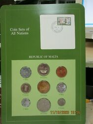 Malta Set In Franklin Mint Coins Of All Nations Card 9 Pc. 1977-1982