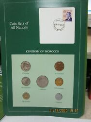 Morocco  Set In Franklin Mint Coins Of All Nations Card 7 Pc. 1974-1980
