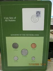 Netherland Set In Franklin Mint Coins Of All Nations Card 5pc. 1983-4
