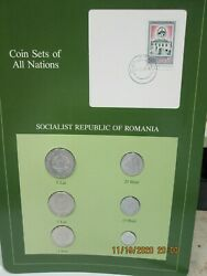 Romania Set In Franklin Mint Coins Of All Nations Card 6 Pc. 1966-82