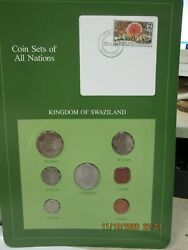 Swaziland Set In Franklin Mint Coins Of All Nations Card 7pc. 1975-82