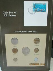 Thailand Set In Franklin Mint Coins Of All Nations Card 7pc.