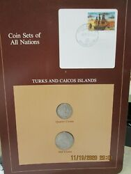 Turks And Caicos Islands Set In Franklin Mint Coins Of All Nations Card 2pc. 1981
