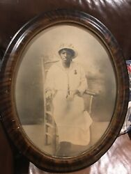African American Black Woman Rare Oval Framed convex Bubble Glass Photograph