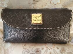 Dooney And Bourke Pebble Grain Trifold Checkbook Wallet Black Black NWT $79.95