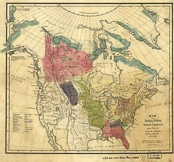 1836 Map North American Indian Tribes 1600 A.d. Native Poster Art Print Decor