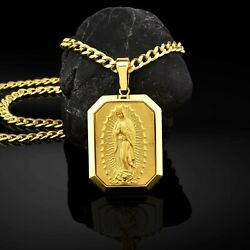 14k Yellow Gold Our Lady Of Guadalupe Virgin Mary Personalized Men's Necklace
