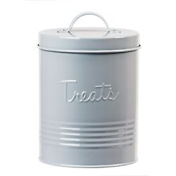 Amici Home Retro Treats Storage Canister With Lid For Pet Food Metal 72 Oz Gray