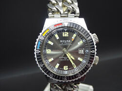 T214 ⭐⭐vintage Sicura By Breitling Diver Wrist Watch Automatic ⭐⭐