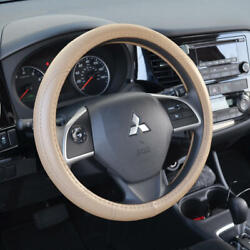 Leather Performance Grip Steering Wheel Cover Universal Size 14.5-15.5 Beige