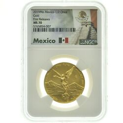 2019 Mo Mexico 1/2 Oz Gold Libertad Onza Coin Ngc Ms70 First Release Slab