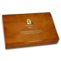 2008 China Beijing 6-coin .667 Agw Gold And 4 Oz Silver Olympic Proof Coin Set Box