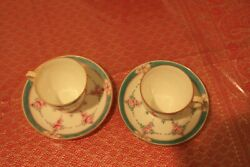 Minton Persian Rose B838 A Set Of Two Demitasse Cups And Saucers