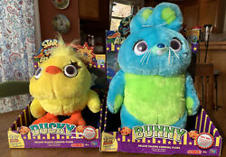 Toy Story Signature Collection Ducky And Bunny Talking Carnival Plush New