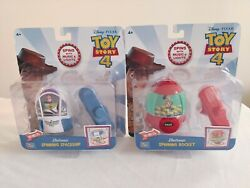 New Toy Story 4 Electronic Spinning Rocket And Spaceship Set Of 2 - Woody And Buzz