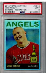 Mike Trout 2013 Topps Heritage Hc10 All Star Rookie Chrome Refractor Psa 9