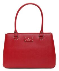 Kate Spade New York 249631 Womens Red Elena Wellesley Leather Tote Bag