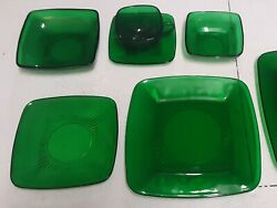 Depression Glass Forest Green Place Setting. Very Good Condition.