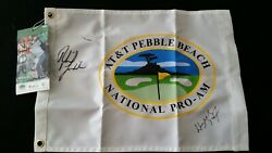 Wayne Gretzky And Phil Mickelson Atandt Pebble Beach National Pro Am Signed Flag