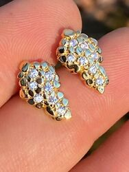 Mens Real Solid 925 Sterling Silver And 14k Gold Nugget Earrings Large Iced Studs