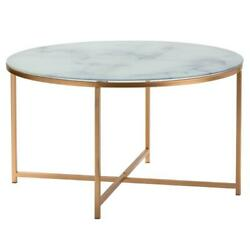 Evolution By Crestview Collection Aria Glass And Gold Metal Coffee Table In Gold