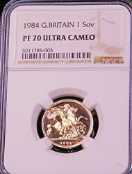 1984 Great Britain Gold Sovereign Ngc Pf70 Ultra Cameo Just Graded Pq Gc227