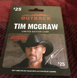 Outback Steakhouse Tim Mcgraw Gift Card Hanger Limited Edition No Value Us New