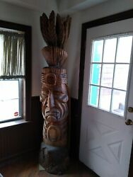 Hand Carved 7-foot Native American Indian