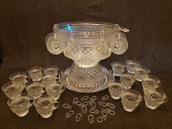 Anchor Hocking Glass Clear Wexford Punch Bowl Cups Hooks Ladle Platter 50 Piece