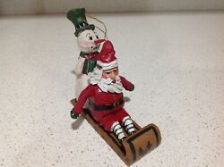 House Of Hatten Santa And Snowman Sleigh Ornament