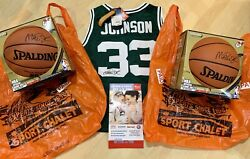 Magic Johnson Signed 2 Basketball S Michigan State 33 Jersey Authentic Tags