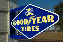Old Style Goodyear Tire And Rubber Wing Foot Die-cut Steel Flange Sign Made In Usa