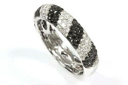 1.65 Ctw Black And White Diamond Solid 14k White Gold Half Eternity Ring 5.5 Mm