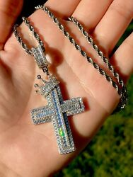 Baguette Cross Mens Women Italy 925 Silver 14k Gold Filled Stamp Pendant Chain $74.94