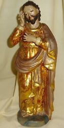 The Ultimate 17/18thc Gilt Wood Polychromed Figure Of Christ-glass Eyes- 10 3/4