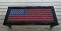 American Flag Table Beer Bottle Cap Coffee Table Glass Top Americana Man Cave