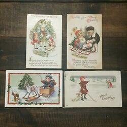 Lot Of 4 Vintage Christmas Cards, 2 Glitter, 1 Post Marked 1912