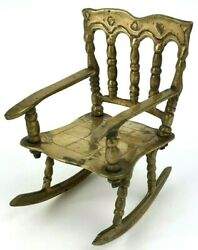 Vintage Miniature Brass Doll House Rocking Chair Rocker Made In India 112 Scale
