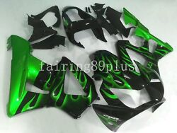 Black Candy Green Flame Abs Injection Fairing Kit Fit For Cbr929rr 2000 2001