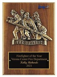 Fire Dept Service Bravest Award Plaque 9x12 Free Engraving Fast Shipping