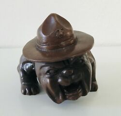 USMC Bulldog Figurine Paperweight Molded Resin Vintage 6quot; L x 3.5quot; H