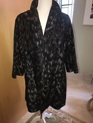 Eileen Fisher Black amp; Metallic Silver Evening Coat L EXCELLENT $48.99