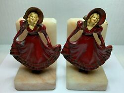Book Ends Girl Curtsy Red Dress Celluloid Face