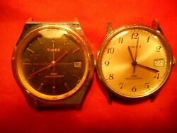 Vintage Timex Mens Watches 2 Wind Up Models Date Second Hand As Is Ufix Timex