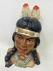 Vintage Universal Statuary Corp 1974 Native Indian Girl Height 9.5