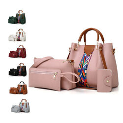 4 Pcs Leather Handbag Cross Body Shoulder Bag Purse Card Bag Set for Women $19.99